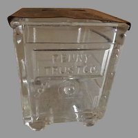 """Vintage """"Penny Trust Co."""" Figural Glass Candy Container"""