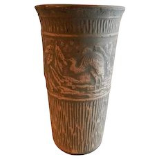 "Red Wing Union Stoneware Brushware ""Crane"" Scenic Design Vase"