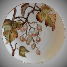 Charles Haviland & Co. Hand Painted Cabinet Plate w/Grapes Motif - #2 of Set of 5 Plates