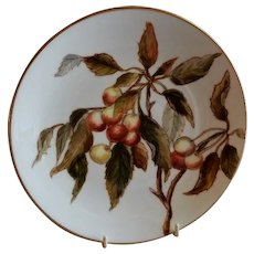 Charles Haviland & Co. Hand Painted Cabinet Plate w/Cherries Motif - #3 of Set of 5 Plates