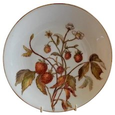 Charles Haviland & Co. Hand Painted Cabinet Plate w/Strawberries Motif - #4 of Set of 5 Plates