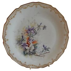Bawo & Dotter Elite Works Hand Painted Cabinet Plate w/Variety of Spring Flowers - #1 of Set of 4 Plates