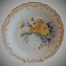 Bawo & Dotter Elite Works Hand Painted Cabinet Plate w/Chrysanthemum Flowers - #2 of Set of 4 Plates