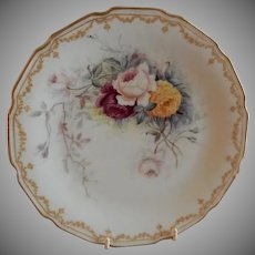 Bawo & Dotter Elite Works Hand Painted Cabinet Plate w/Selection of Rose Blossoms - #3 of Set of 4 Plates