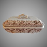 "T & R Boote Ironstone Brown Transferware Covered Vegetable Tureen ""Tournay"" Pattern"
