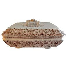 """T & R Boote Ironstone Brown Transferware Covered Vegetable Tureen """"Tournay"""" Pattern"""