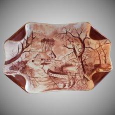 "Charles Haviland & Co. Hand Painted ""Scenic"" Motif Ice Cream Platter, Circa 1880's"