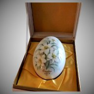 1972 Second Edition Noritake Easter Egg w/Easter Lily