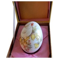 1973 Third Edition Noritake Easter Egg w/Mother Hen & Baby Chicks