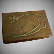 Heintz Art Metal Shop - Sterling Silver on Bronze - Desk Set Stamp Box
