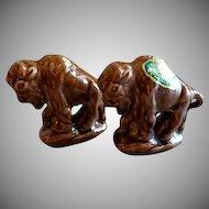 "Rosemeade Pottery ""Buffalo"" Figural Set of Salt & Pepper Shakers"