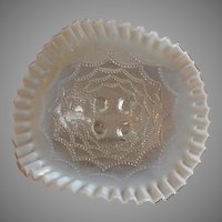 "Northwood Glass ""Beaded Drapes"" Pattern Clear Opalescent Footed Bowl"