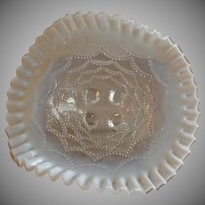 """Northwood Glass """"Beaded Drapes"""" Pattern Clear Opalescent Footed Bowl"""