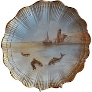 Martial Redon Limoges Cabinet Plate w/Scenic Fishing Motif #3 of 6