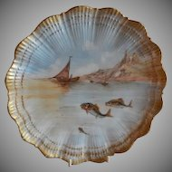 Martial Redon Limoges Cabinet Plate w/Scenic Fishing Motif #4 of 6