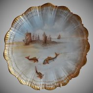 Martial Redon Limoges Cabinet Plate w/Scenic Fishing Motif #5 of 6
