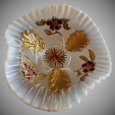 """Northwood Glass """"Blossoms & Palms"""" Pattern Clear Opalescent Flared Trefold Bowl w/Goofus Paint Decoration"""