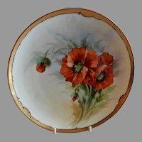 Julius H Brauer Studio Hand Painted Cabinet Plate w/California Poppies Motif