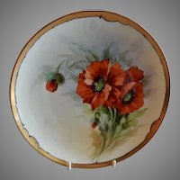 Julius H Brauer Studio Hand Painted Cabinet Plate w/California Poppies Motif