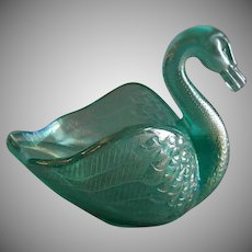 "Vintage Fenton Glass Company Ice Green ""Open Swan Salt"""