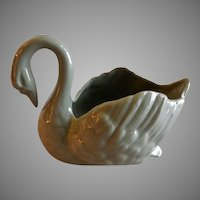 "Lenox China Green/Gray ""Paddle-foot Swan"" Open Salt"