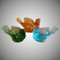"Group of 3 Degenhart Glass ""Bird with Berry"" Open Salts or Candle-holders"