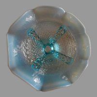 """Northwood Glass """"Button Panels"""" Pattern Blue Opalescent Footed & Ruffled Bowl"""