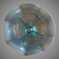 "Northwood Glass ""Button Panels"" Pattern Blue Opalescent Footed & Ruffled Bowl"