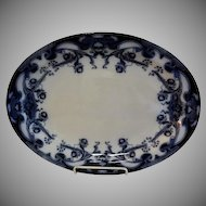 "A. J. Wilkinson - Royal Staffordshire Pottery - Flow Blue ""Iris"" Pattern Large Oval Platter"