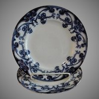 "A. J. Wilkinson - Royal Staffordshire Pottery - Flow Blue ""Iris"" Pattern Set of 2 Dinner Plates"