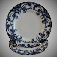 "A. J. Wilkinson - Royal Staffordshire Pottery - Flow Blue ""Iris"" Pattern Set of 2 Dinner Plates"