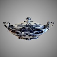 """A. J. Wilkinson - Royal Staffordshire Pottery - Flow Blue """"Iris"""" Pattern Covered Vegetable Tureen"""