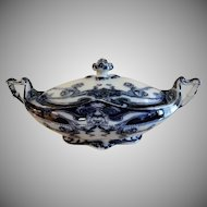 "A. J. Wilkinson - Royal Staffordshire Pottery - Flow Blue ""Iris"" Pattern Covered Vegetable Tureen"