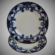 "A. J. Wilkinson - Royal Staffordshire Pottery - Flow Blue ""Iris"" Pattern Set of 3 Luncheon Plates"