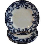 "A. J. Wilkinson - Royal Staffordshire Pottery - Flow Blue ""Iris"" Pattern Set of 4 Luncheon Plates"