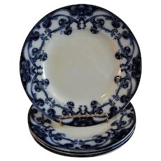 "A. J. Wilkinson - Royal Staffordshire Pottery - Flow Blue ""Iris"" Pattern Set of 4 Luncheon Plates"