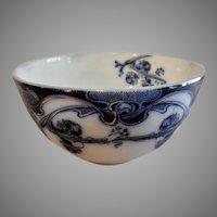 "A. J. Wilkinson - Royal Staffordshire Pottery - Flow Blue ""Iris"" Pattern Round Cranberry Bowl"