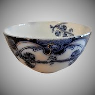 "A. J. Wilkinson - Royal Staffordshire Pottery - Flow Blue ""Iris"" Pattern Round Cranberry Bowl"