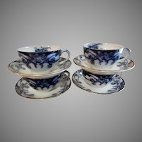 """A. J. Wilkinson - Royal Staffordshire Pottery - Flow Blue """"Iris"""" Pattern Set of 4 Cups & Saucers"""
