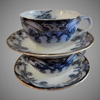 """A. J. Wilkinson - Royal Staffordshire Pottery - Flow Blue """"Iris"""" Pattern - Set of 2 Cups & Saucers - 4 Sets Available"""