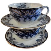 """A. J. Wilkinson - Royal Staffordshire Pottery - Flow Blue """"Iris"""" Pattern Set of 2 Cups & Saucers"""