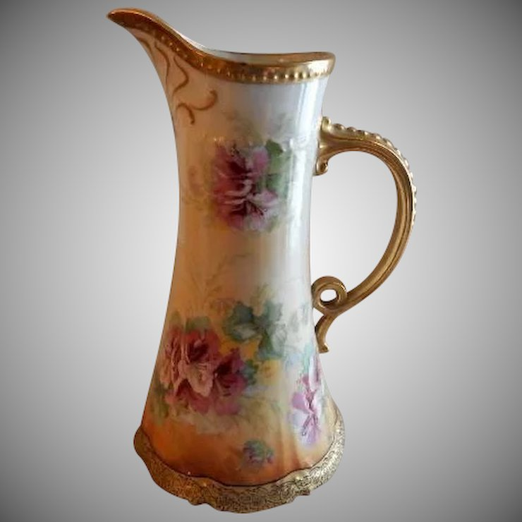Coronet Limoges France Factory Decorated Pitcher/Ewer w/Hibiscus ...