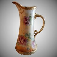 Coronet Limoges France Factory Decorated Pitcher/Ewer w/Hibiscus Blossoms Motif