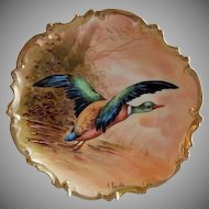 Coronet Limoges France Factory Decorated Charger Game Plate w/Mallard Drake Taking Flight - Signed A Broussillon