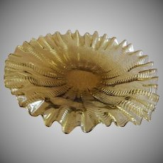 "Stevens & Williams Amber ""Zipper"" Pattern Ruffled Under-Plate - Rd 55693"