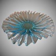 "Stevens & Williams Blue ""Zipper"" Pattern Ruffled Under-Plate - Rd 55693"