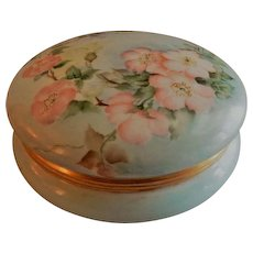 T & V Limoges Hand Painted Dresser/Jewelry Box w/Soft Pink Wild Rose Blossoms Motif
