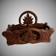 Black Forest Carved Walnut Victorian Carrying Tray/Letter Holder