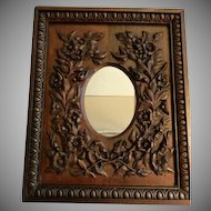European Carved Mahogany Floral Decorated Picture Frame