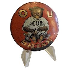 "Chicago Cubs Baseball ""O U Cub Shine"" Shoe Shine Pinback - 1920's"